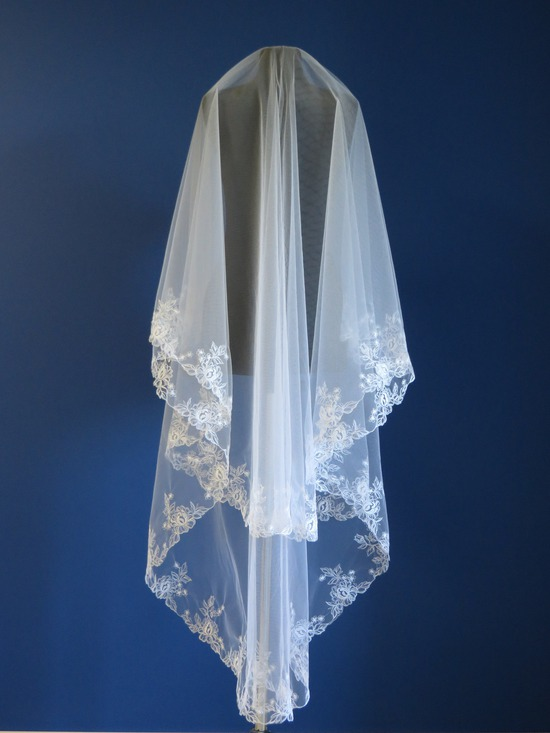 2 Tier embroidered bridal veil