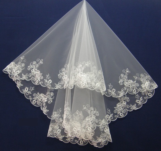 2 Tier embroidered wedding veil