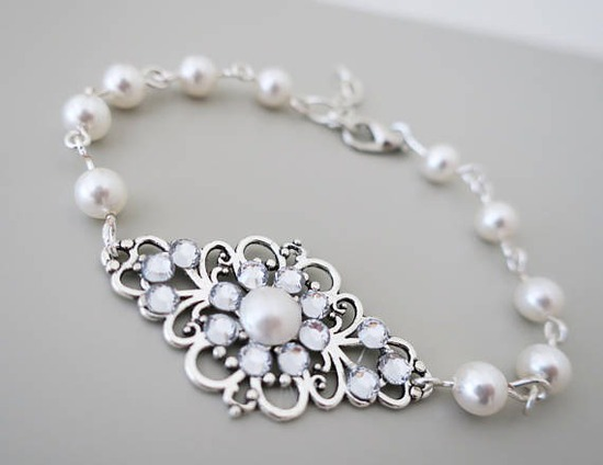 Pearl and crystal bracelet vintage inspired bridal jewelry b