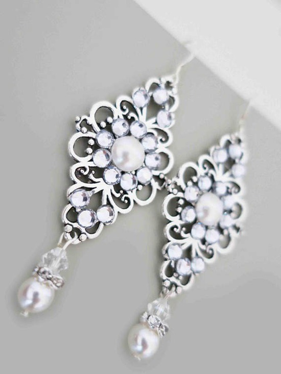 Crystal Pearl Earrings Wedding Chandelier Earrings