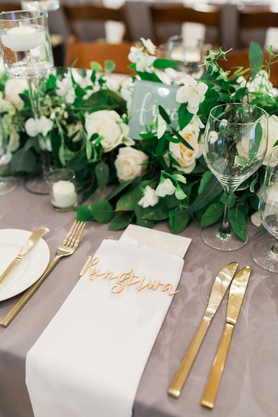 Elegant Gold & Green Table Setting in Wine Country