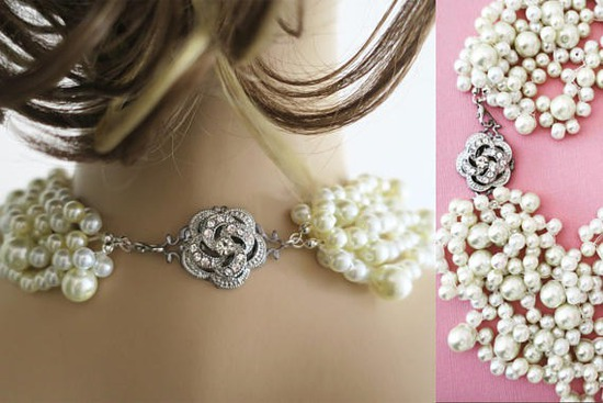Pearl statement necklace Bridal Chunky Necklace with Rose