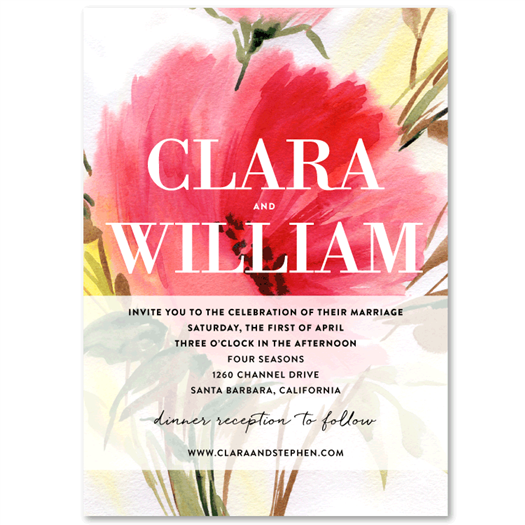 poppy wedding invitation