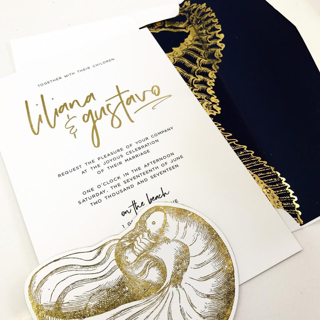 Gold seahorse beach wedding invitation