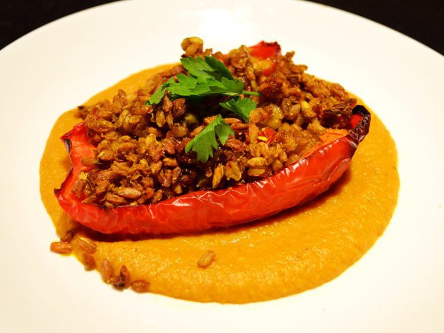 Curried Farrow Stuffed Peppers