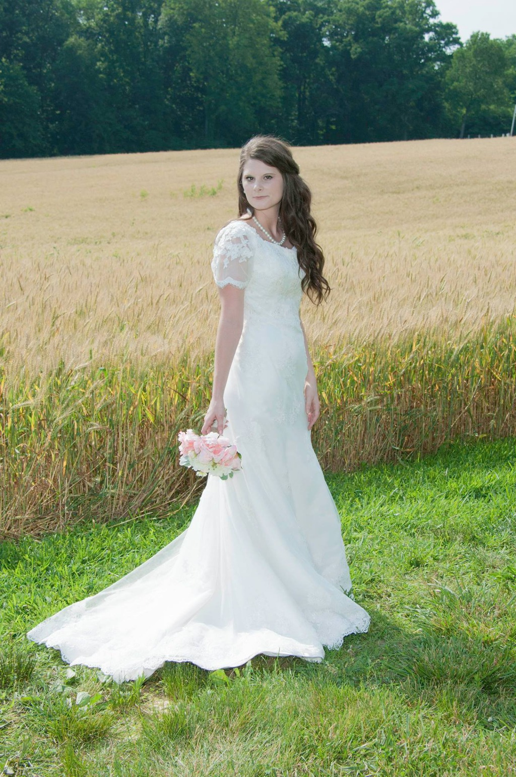 Vintage style modest lace wedding dress
