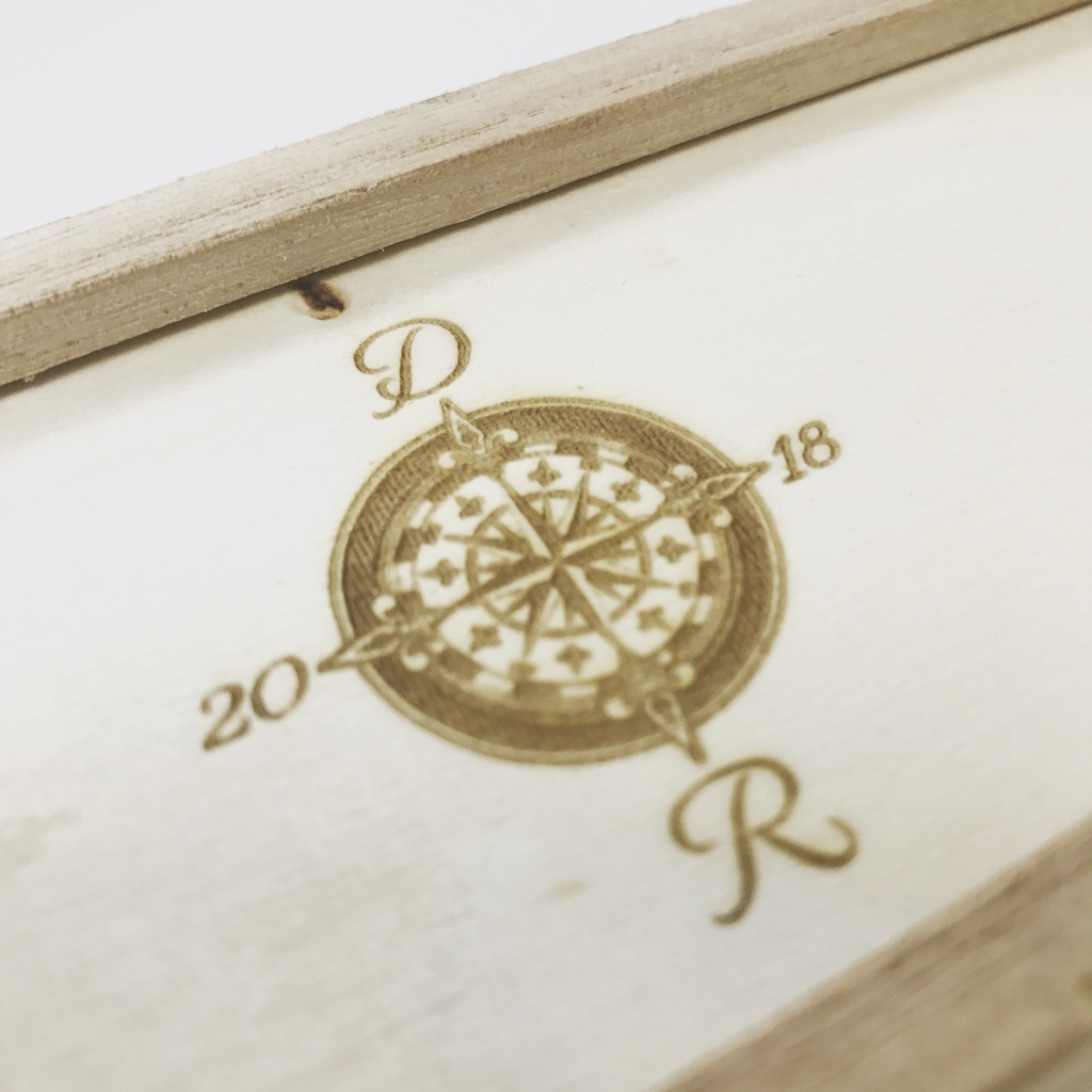 Laser engraved wooden boxed wedding invitations