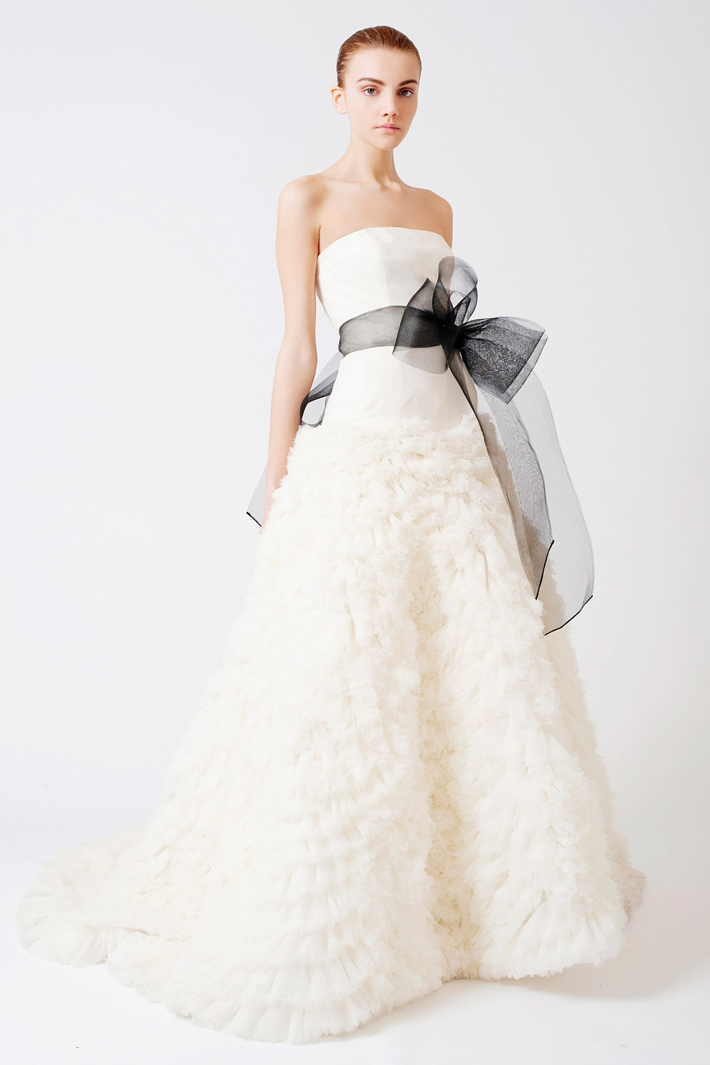 Eleanor-strapless-a-line-ivory-wedding-dress-feathered-tulle-black-sash.full