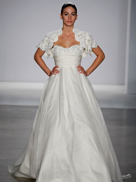 Ivory Princess Cut Wedding Dress With Floral Applique Pockets And Modified