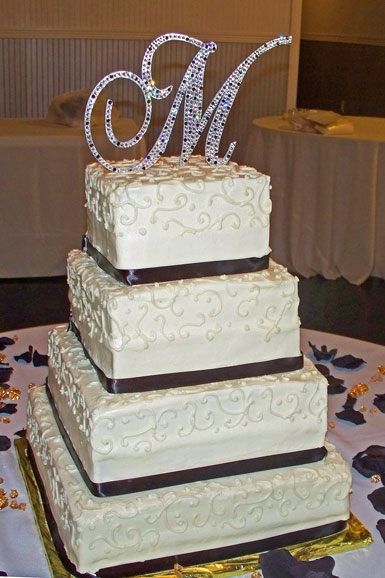 Classic-white-black-square-tiered-wedding-cake-rhinestone-monogram-wedding-cake-topper.original