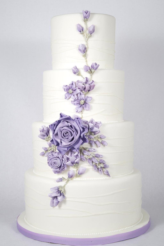 White Purple Wedding Cake