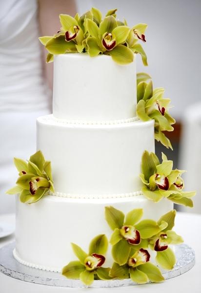 White-wedding-cake-beach-destination-wedding-3-tier-green-purple-orchids.full