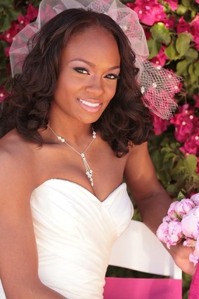 Bella-wedding-hairstyles-african-american-bride-hair-down-natural-curls-tulle-waterfall-veil.full