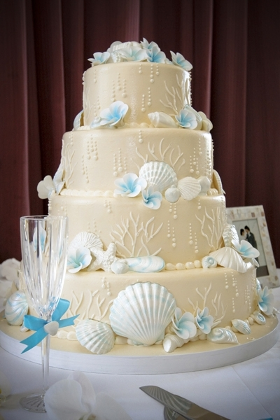 photo of Beach-Inspired Destination Wedding Cake