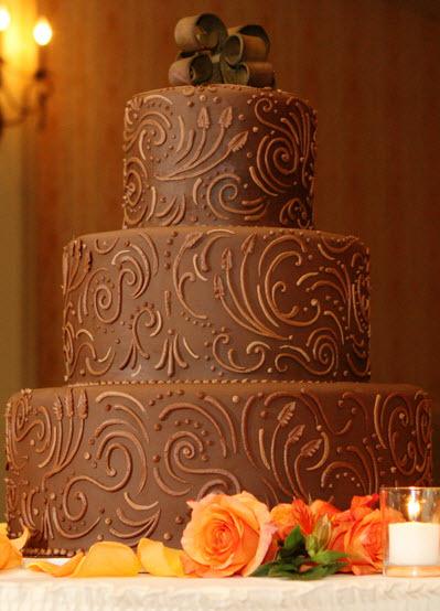 Chocolate-wedding-cake-brown-swirl-design-ribbon-monogram-cake-topper-three-tiers-extra-large.full