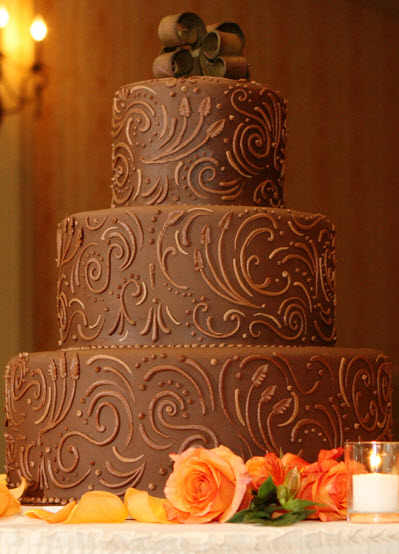 Chocolate-wedding-cake-brown-swirl-design-ribbon-monogram-cake-topper-three-tiers-extra-large.original