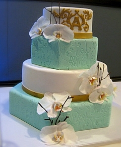 Teal and White Wedding Cake