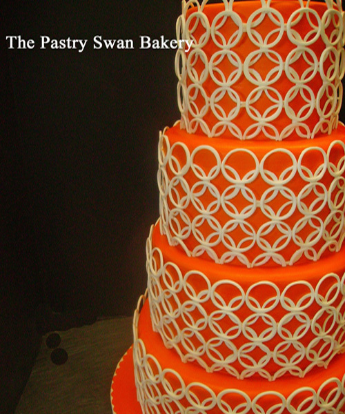 Bright-orange-5-tier-wedding-cake-ivory-classic-pattern.full