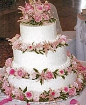 Light Pink Floral Wedding Cake