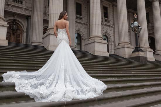 Ruffled Strapless Wedding Dress