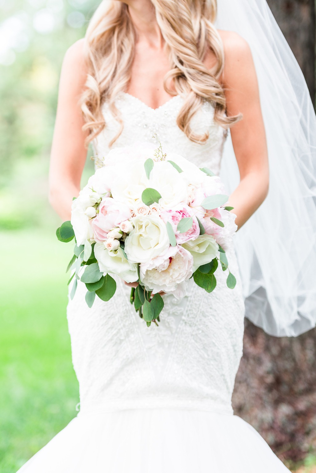 White pink roses hydrangea wedding bouquet
