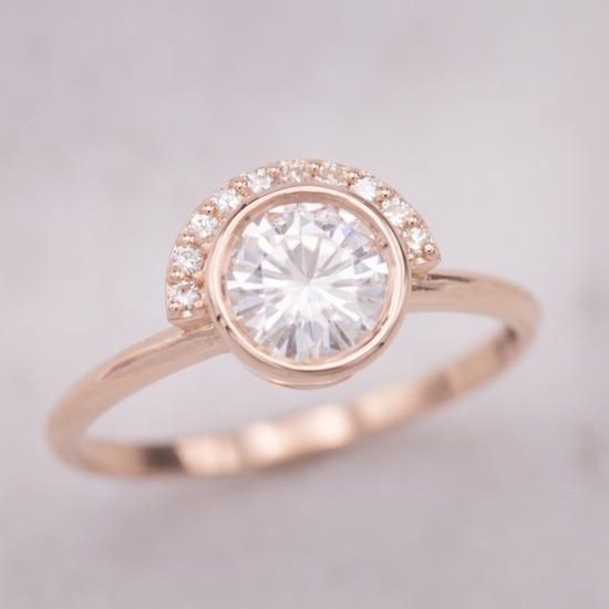 Deco Inspired Half Halo Moissanite Engagement Ring