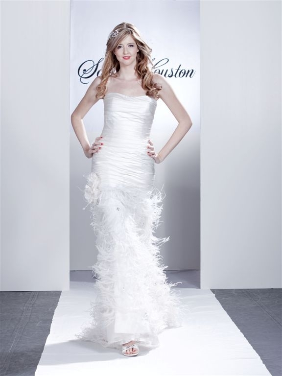 Sawy-white-strapless-column-wedding-dress-pleating-feathers.full