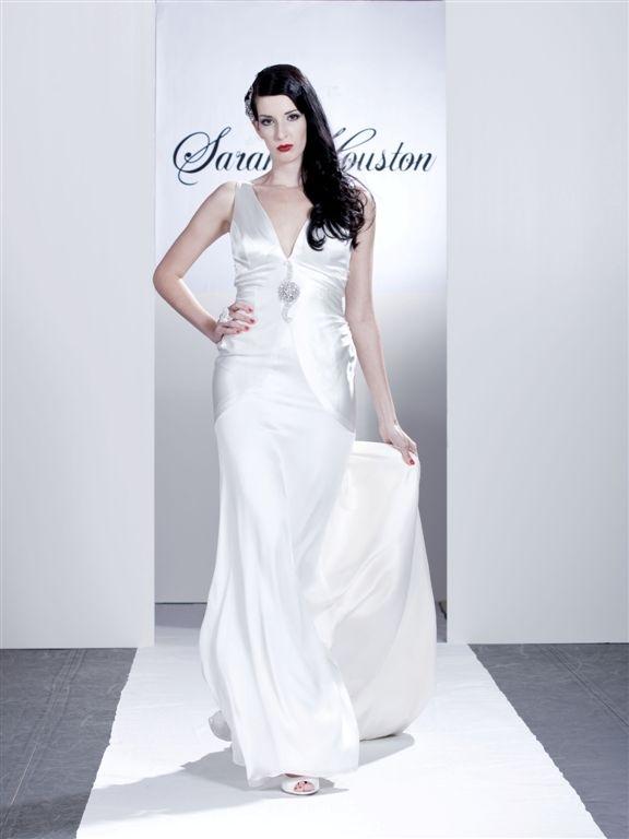 Honour-deep-v-neck-white-satin-wedding-dress-silver-brooch-in-center-of-cumberbund-vintage-old-hollywood.full