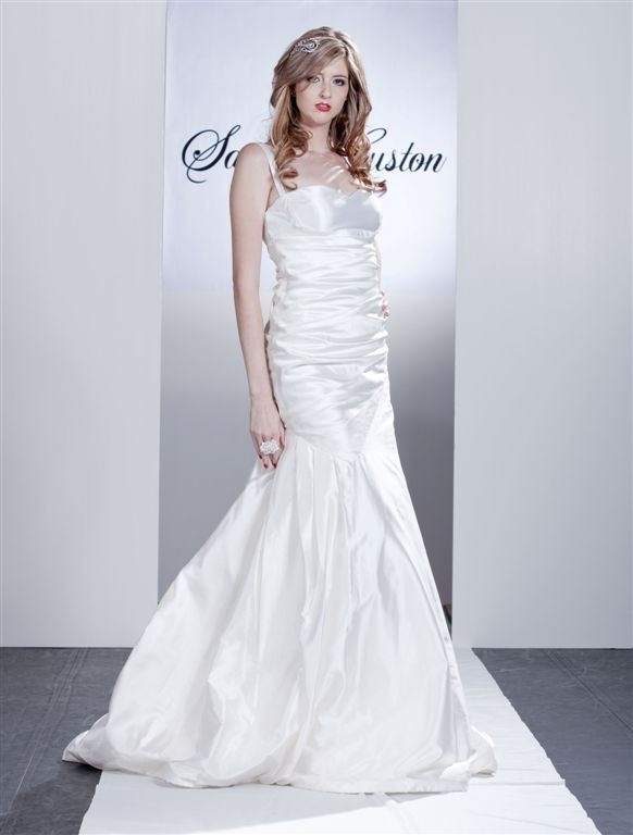 Kate-white-wedding-dress-ruching-throughout-bodice-drop-waist-thin-straps.full