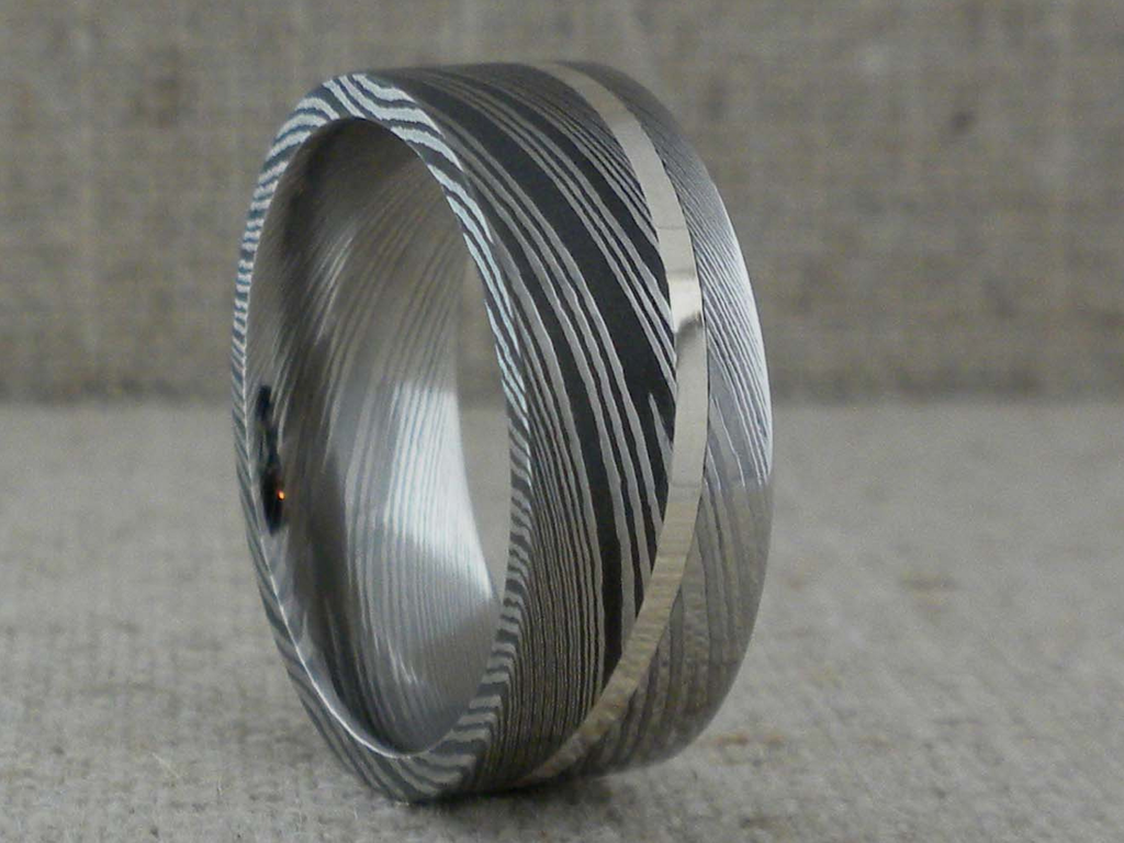 Damascus Steel Wedding Ring With Two Finishes And Sterling S