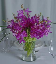 Purple Orchid & Bells of Ireland Centerpiece
