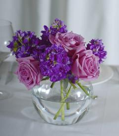 Lavender Rose & Purple Stock Centerpiece