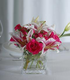 photo of Stargazer Lily & Pink Rose Centerpiece