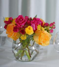 photo of Yellow & Pink Rose Centerpiece