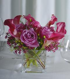 photo of Purple Calla Lily & Lavender Rose Centerpiece