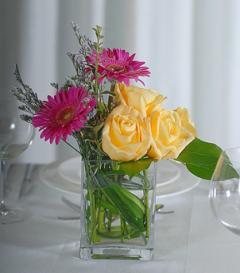 Yellow Rose & Pink Gerbera Centerpiece