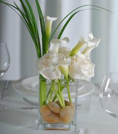 photo of White Rose & Calla Lily Centerpiece
