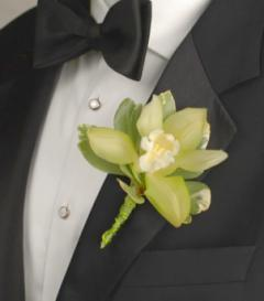 photo of Green Cymbidium Orchid Boutonniere