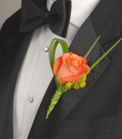Orange Rose & Green Hypericum Boutonniere
