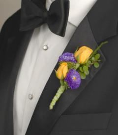 Yellow Rose & Purple Aster Boutonniere