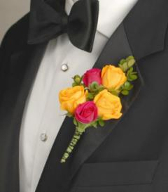 Yellow & Pink Rose Boutonniere