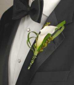 photo of White Calla Lily Boutonniere