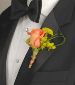 Orange Rose & Green Button Mum Boutonniere