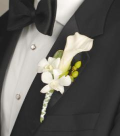 photo of White Calla Lily & Dendrobium Orchid Boutonniere
