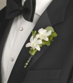 White Dendrobium Orchid Boutonniere | OneWed.com