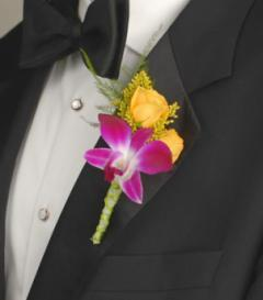 Purple Dendrobium Orchid & Yellow Rose Boutonniere