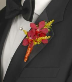 photo of Red Mokara Orchid Boutonniere