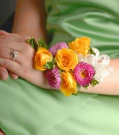 Yellow Rose & Pink Aster Corsage