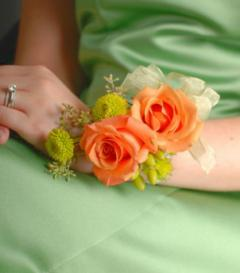 Orange Rose & Green Button Mum Corsage