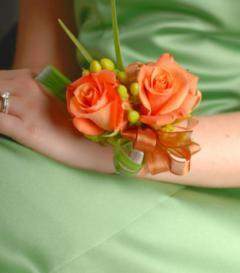 Orange Rose & Green Hypericum Corsage